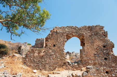laconia: View on ruins at uptown Monemvasia at the Greek Peloponnese