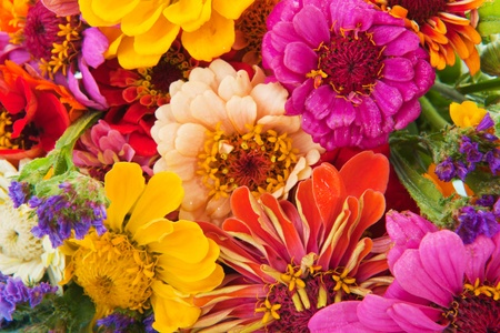 mixed flower bouquet: colorful flower bouquet with many different mixed flowers Stock Photo