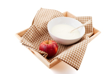 diet breakfast with yogurt and a red apple Stock Photo - 8580476