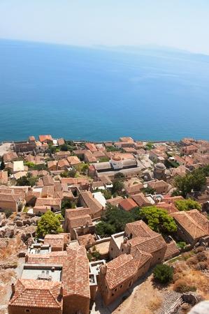 laconia: View on downtown Monemvasia at the Greek Peloponnese