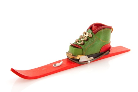 skie: Skiing in winter with shoe on skie isolated over white background