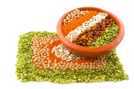 Various legumes in a pattern as background photo