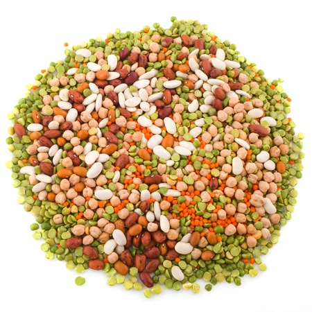 Various legumes in a circle on white background photo