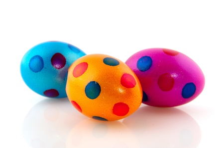Colorful easter eggs in blue yellow and green