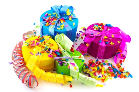Colorful presents in pink yellow blue and green Stock Photo - 8677263
