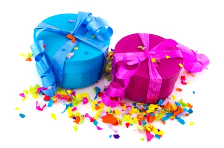 Colorful presents in pink yellow blue and green photo
