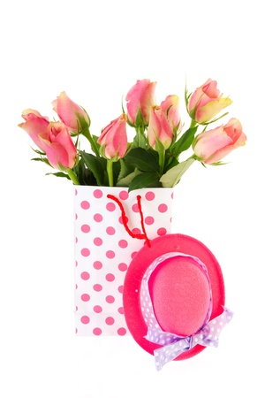 Bouquets of pink roses in dotted bags photo