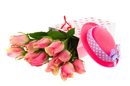 Bouquets of pink roses in dotted bags