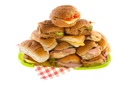 meats: Many bread rolls with meats and cheese