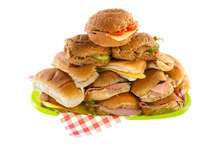 carnes: Pan muchos rollos con carne y queso Foto de archivo
