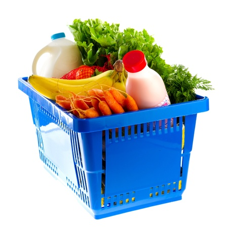 Blue shopping basket with dairy food from the supermarket