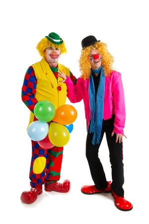 Pair of happy clowns are having a celebration with balloons Stock Photo - 8916445