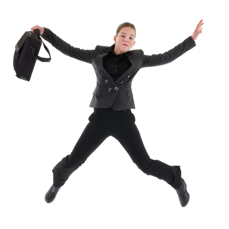 young business woman is jumping with laptop bag Stock Photo - 8916412