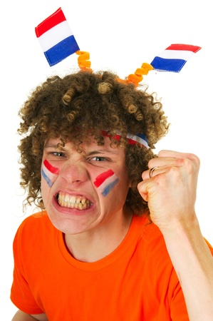 Young boy is supporting the Dutch team Stock Photo - 8916500