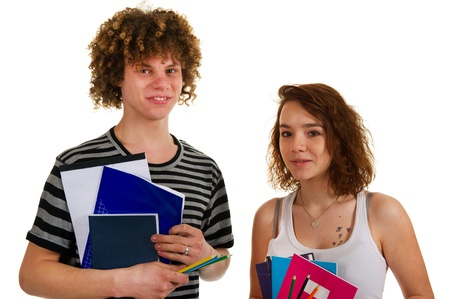 young attractive couple at school with exercise books Stock Photo - 8916492