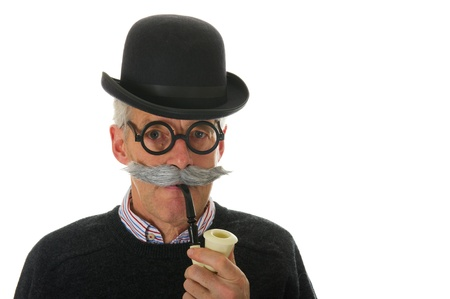 Portrait of a funny inspector with a hat glasses and pipe photo