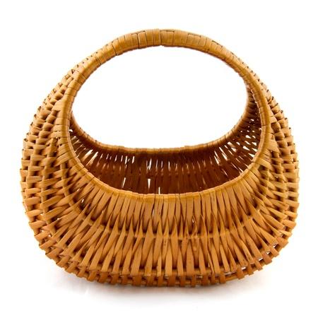 Empty wicker cane basket on white background Stock Photo - 8991558