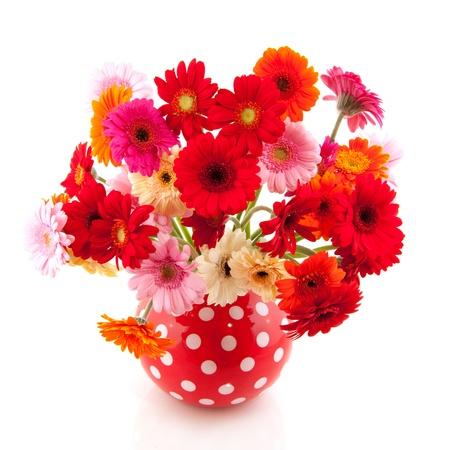 flores de cumpleaños: Rojo vaso manchado con colorido ramo de Gerber