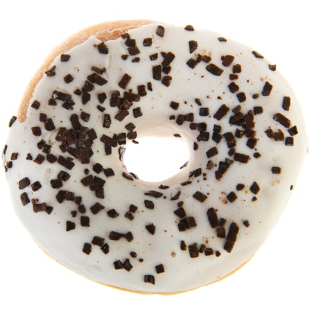 white glazed donut with chocolate sprinkles on top photo