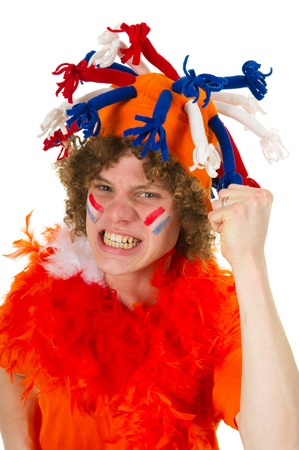 Young boy is supporting the Dutch team Stock Photo - 9235355