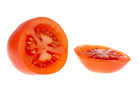 whote: cut fresh tomato isolated on whote background