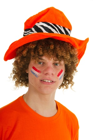 Young boy is supporting the Dutch team photo