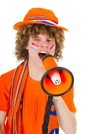 Young boy is supporting the Dutch team Stock Photo - 9235391