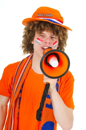 Young boy is supporting the Dutch team Stock Photo - 9235271