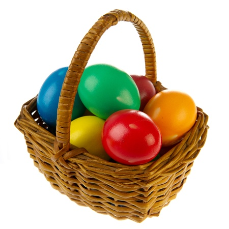 Basket painted easter eggs in various colors