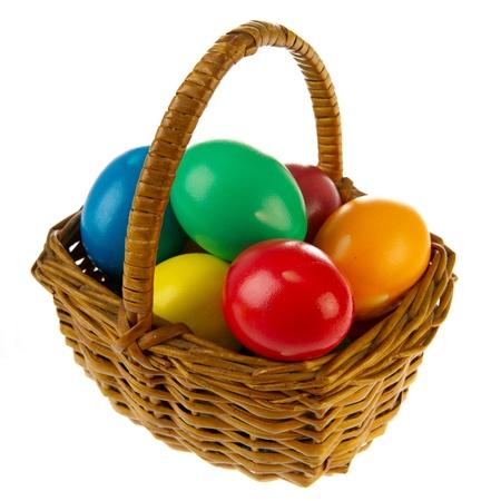 painted eggs: Basket painted easter eggs in various colors