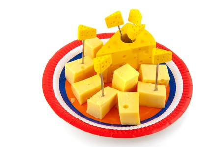 Dutch cheese cubes on a plate in flag colors photo