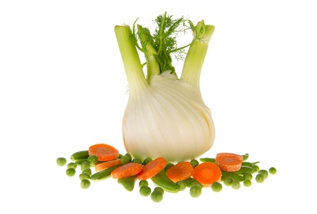 snaps: Isolated fresh fennel with sugar snaps, green peas and carrots