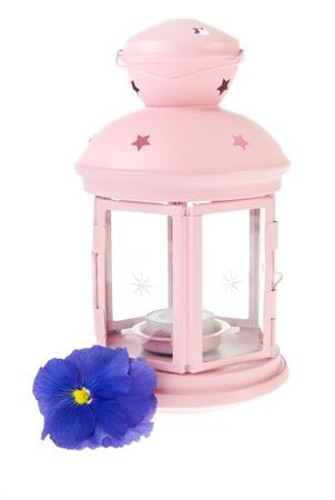 Pink garden lantern with blue Pansy flower photo