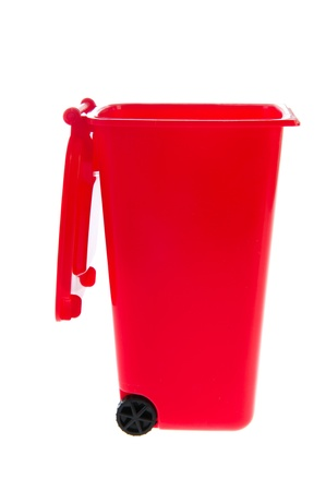 litterbin: Single red plastic roll container for garbage on white background