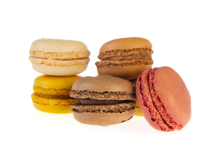 Colorful French macarons isolated over white background Stock Photo - 9357299