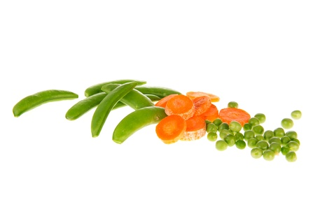 snaps: Fresh vegetables as sugar snaps green peas and slices carrottes