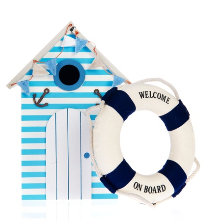Summer beach hut with live bouy with welcome on board photo