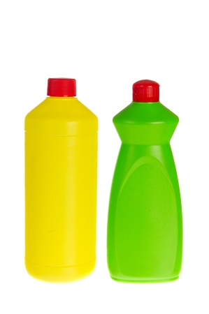 bleach: Two plastic bottles cleaning liquids as cleaner and bleach
