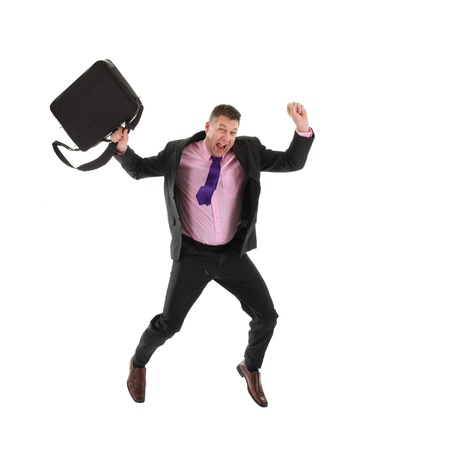 Happy business man is jumping with laptop bag