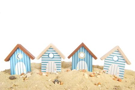 row of houses: Row beach houses in the sand at the beach Stock Photo