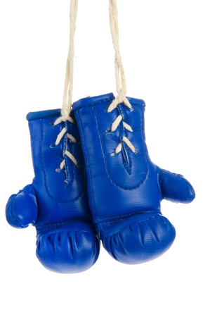 Pair of hanging blue boxing gloves isolated over white Stock Photo - 9637228
