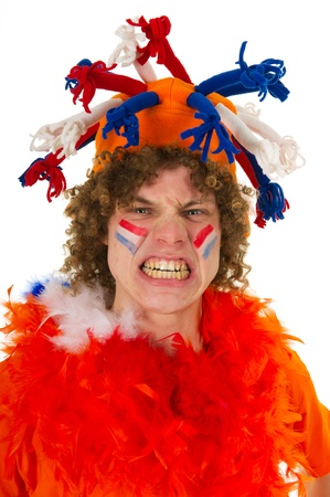 Young boy is supporting the Dutch team Stock Photo - 9636854