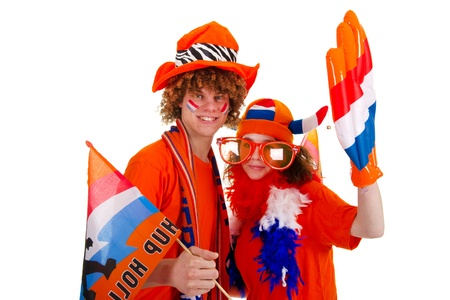 Young boy is supporting the Dutch team Stock Photo - 9636814