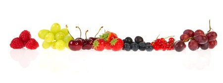 Garland from various soft fruit on white background Stock Photo - 9707926