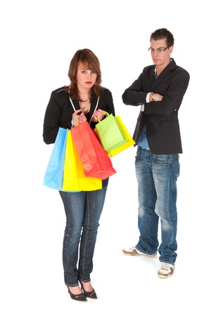 after shopping: Woman is feeling guilty after shopping fun