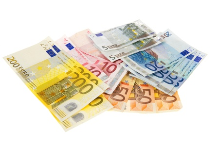 Euro banknotes from two hundred isolated over white
