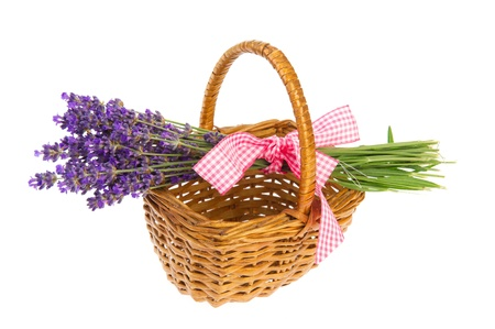 Purple bouquet Lavender in basket on white background photo