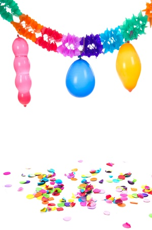blowed: Colorful paper party gurilandes with balloons and confetti on white background Stock Photo