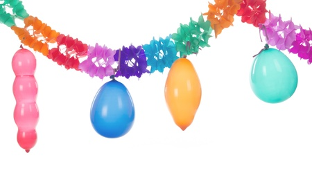 blowed: Colorful paper party gurilandes with balloons on white background Stock Photo