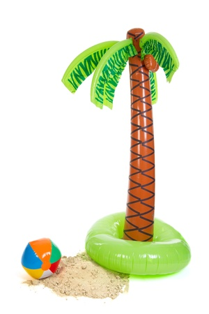 palm leaves: Tropical beach with palm trees sand and ball